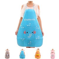 кухонный фартук пвх оптовых-PVC Waterproof Hot Cartoon animal Apron Kitchen Restaurant Cooking Bib Aprons
