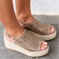 römischen stil high heels großhandel-Frauen designer sandalen fischmaul römische mode high heel hanfseil weben böhmischen stil casual strand schuhe große größe 35-43