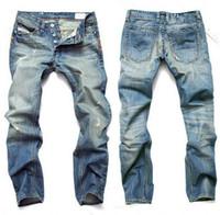 Wholesale jeans for mens wholesale online - 50pcs Men Jeans Mens Slim Casual Pants Elastic Trousers Light Blue Fit Loose Cotton Denim Brand Jeans For Male M354