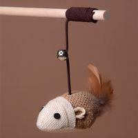 entrenamiento de cuerda elástica al por mayor-Cuelga de madera Juego de varilla Elástica Cuerda Gato Juguetes de Bell Faux Mouse