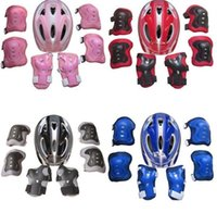 Wholesale skate protective gear resale online - Adjustable Kid Roller Skating Bicycle Helmet Knee Wrist Guard Elbow Pad Set for Child Cycling Sports Protective Guard Gear