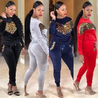 Wholesale red yoga outfit resale online - Women Heart Sequins Tracksuit Long Sleeve Top Skinny Pants Set Autumn Winter Outdoor Jumpsuit Outfits sets OOA6187