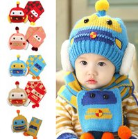 Wholesale models scarfs resale online - Boys Girls Knitted Hats Scarf Cartoon Car Knitting Pompom Wool Bobble Winter Toddler Kids Designer Hats Scarf Fashion Ski Warm Hats