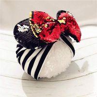accessoires cheveux rosebud achat en gros de-Bande dessinée oreilles bandeau avec paillettes cheveux noeuds bébé turban chapeau automne hiver coton mélanges tête bandeau cheveux accessoires