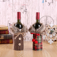 Wholesale christmas wine decorations for sale - Group buy Creative New Wine Cover with Bow Plaid Linen Bottle Clothes with Fluff Creative Wine Bottle Cover Fashion Christmas Decoration ZZA1556