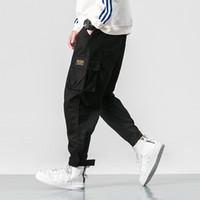 markalı kargo pantolonları toptan satış-Erkek Pantolon Rahat Kargo Pantolon Erkek Marka Giyim Ayak Streç Cepler Hip Hop Turuncu Ayak Bileği uzunlukta