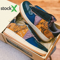 мужская обувь оптовых-Travis Scott x Nike Air Force 1 Low Stock X With Box Travis Scott shoes Air Low 1 Cactus Jack Multi-Color 1s men women Running Shoes Canvas mens sports sneakers