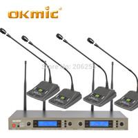 micrófono inalámbrico para sistema de conferencia. al por mayor-OKMIC 8004/978 Conferencia inalámbrica de cuatro canales UHF sistema inalámbrico de cuatro canales Micrófono 4 multicanal UHF PLL