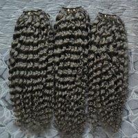 3 adet brazilian saç uzatma toptan satış-İnsan Saç Demetleri 3 ADET Brezilyalı Saç Örgü Demetleri kinky kıvırcık gri Renk 100% İnsan Örgü Demetleri Olmayan Remy Saç Uzatma