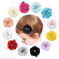 flores artificiales chiffon perla al por mayor-Bebé flores de gasa con perla Rhinestone Centro Artificial flor tela flores niños pinzas para el cabello R231