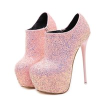 2f9571c71a2 16cm black pink ultra high heels glitter sequins prom gown dress shoes  platform ankle bootie shoes size 34 to 40