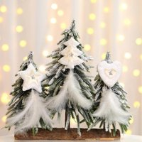 Wholesale white gold pentagram pendant for sale - Group buy 1pc Christmas Ornaments White Christmas Tree Pentagram Heart Feather Pendant Kids Gift Toys for Family New Year Party Decor