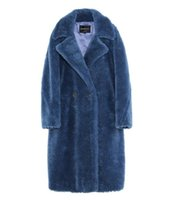 ingrosso donna blu parka coat-6 colori Jazzevar Blue pecore in pelliccia felpata con parka lungo con fodera in cashmere donne cappotti in pelliccia di tosatura delle pecore
