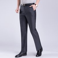 Wholesale age suit resale online - Spring and Autumn Men Suit trousers Gray Navy Black Men Pant Middle aged man pants