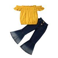 top de jeans de niña bebé al por mayor-Novedades Niño pequeño Niño Bebé Niña Fuera del hombro Tops Pantalones acampanados de mezclilla Jeans Conjunto 2-7T