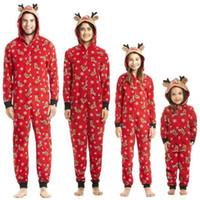 ensemble famille de mode achat en gros de-Mode Belle confortable coton famille mamans correspondant à Noël pyjamas pyjamas ensembles de Noël cadeau de Noël vêtements de nuit vêtements de nuit tenue vêtements rouge