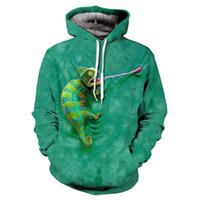 Wholesale can motion resale online - Pop2019 Spring Summer Pattern Wind d Lizard Printing Motion Cool Time Sweater Pullover Even Hat Jacket Can Customized