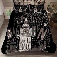 karikatur ben großhandel-HELENGILI 3D Bettwäscheset Big Ben Print Bettwäscheset Bettdecke mit Kissenbezug Bett Heimtextilien # YC-03