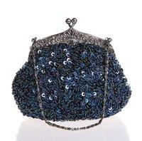 bolso de la boda del azul de marina de guerra al por mayor-Azul marino con cuentas de lentejuelas con cuentas de boda bolso de noche bolso de embrague nupcial fiesta maquillaje bolso monedero envío gratis 03162-G # 93006