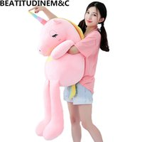 kız doldurulmuş oyuncaklar toptan satış-Yeni Büyük Yumuşak Unicorn Hayvan Peluş Oyuncak Dolması Oyuncak Kız Hediye çocuk Oyuncak Kanepe Yastık Minder Ev Dekorasyon