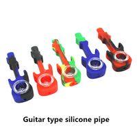 neueste gitarren großhandel-Neueste Gitarrenpfeife mit Glas Silicon Vape Pipe für Dry Herb Vaporizer Tobacco Handheld Device Buntes Design