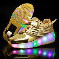 ingrosso una ruota dei bambini-New Pink Gold Cheap Child Fashion Ragazzi Ragazze Led Light Roller Skate Scarpe per bambini Bambini Sneakers con ruote One Wheels Y19061906