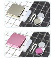 caja de almacenamiento de cosméticos con espejo al por mayor-Espejo de revestimiento Caja de lentes de contacto Envases cosméticos vacíos Envases Caja de almacenamiento de lentes de contacto Compañero invisible Cuidado GGA1985