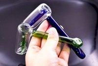 el manası toptan satış-DHL ücretsiz Cam Çekiç Borular Tek Kol Perc Ağacı Percolator Heady Fıskiye Borusu Yeşil el Sigara su Bong Tütün kaşık boru kuru ot için