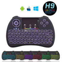 Wholesale Rainbow Backlit Mini H9 Wireless Remote Control GHz Fly Air Mouse Backlight QWERTY Keyboard Touchpad for Mini PC Android Tv Box