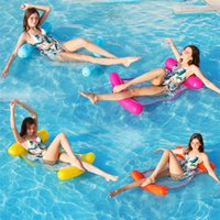 Wholesale swimming bedding resale online - Inflatable Water Hammock Air Mattress Bed Swimming Pool Beach Lounger Floating Sleeping Cushion Foldable Water Fun Sports Toy Seat Chair