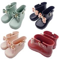 melissa pvc bow al por mayor-Zapatos de diseñador para niños Niñas Mini Melissa Zapatos Arcos de bebé Botas de lluvia de jalea Princesa antideslizante Botas cortas Botas de agua de jalea para niños A6504