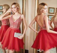 Wholesale diamond spring water resale online - New Chiffon Deep V Back Dance homecoming Dresses Diamond Red Blue Sexy Party Return Home Back To School Prom Dresses Custom