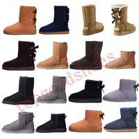 botines negros para mujer al por mayor-Australia Botas Mujeres camiseta clásica de nieve botines arco corto de piel botines para el invierno Negro Castaño manera de la mujer tamaño de los zapatos 36-41