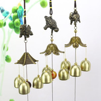 Wholesale chinese brass bells for sale - Group buy Hanging Wind Chime Bell Chinese Oriental Lucky Metal Pagoda Feng Shui Brass Buddha Elephant Spitor Fortune Lijiang Style