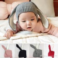 Wholesale baby girl newborn photos resale online - Autumn Winter Knitted Baby thicken Hat Cute Long Ear Rabbit Warm Cap Beanie Newborn Girls Boys Bunny Caps Photo Props