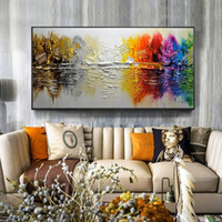 ingrosso vernici barche a vela-Pittura a mano astratta moderna del paesaggio sull'immagine di arte della parete della tela per il salone, decorazione domestica che dipinge Y18102209