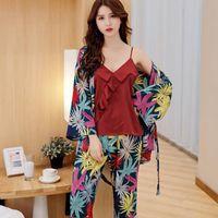damen pyjama homewear großhandel-3 Stück Damen Sexy CamiPantsRobe Home Wear Faux Silk Pyjama Set Lässige Nachtwäsche Pyjamas Langarm Lose Nachtwäsche M-XL