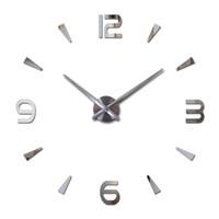 relógios de flores de acrílico venda por atacado-3d adesivo novo espelho adesivos de parede design de flores arte sofá cama fundo acrílico moderno decoração de casa diy relógio q190601