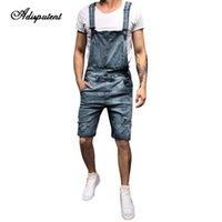 calça jeans em geral homens venda por atacado-Adisputent 2019 Verão dos homens Bib Denim Macacão Curto Calça Jeans Romper Casual Botão de Treino Macacão Cinto Homme Calções Afligidos
