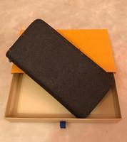 berühmte brieftaschenmarken für männer großhandel-Fahion 5 farben berühmte marke mode einzigen reißverschluss luxus designer männer frauen leder brieftasche dame lange brieftasche mit box