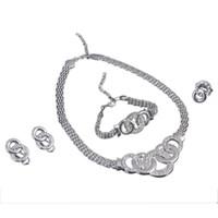 ingrosso set di gioielli africani-Set di gioielli africani Set di gioielli in argento dorato di Dubai per donne Set di gioielli da sposa rotondi Set di gioielli da sposa
