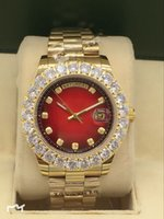 наручные часы мужские оптовых-Горячие Продажи Новая Мода Мужская ДЕНЬ Дата 40 мм Автоматические Механические Часы Red Face Нержавеющая Сталь Алмазные Мужские Часы Наручные Часы