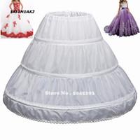 çiçek kız elbise çemberleri toptan satış-SATONOAKI Fit 6 ~ 14 yıldır Kız Çocuk Petticoat A-Line 3 Hoops Tek Katman Çocuklar Crinoline Dantel Trim Çiçek Kız Elbise Jüpon Elastik Bel