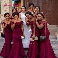 ingrosso damas abiti da onore-2020 Boat Neck abiti africani Borgogna damigella d'onore maniche corte Abiti da sposa lungo Vestidos Damas de Honor Adultos