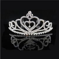 невесты оптовых-Maxi Bride party горный хрусталь корона любовь ювелирные изделия с бриллиантами для волос для шоу и шоу, девушки богато украшенные головной убор принцесса аксессуар для волос