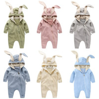 Wholesale halloween costumes for infants for sale - Group buy Baby Rabbit Ear Hooded Rompers For Boys Girls Jumpsuit Long Sleeve Sleeping Bag Kids Clothes Newborn Clothing Infant Costume Outfit