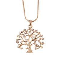 золотая хрустальная елка оптовых-Дерево жизни кулон ожерелье женщины шикарные ювелирные изделия Кристалл заявление ожерелья подвески рождественские подарки Bijoux розовое золото длинная цепь ожерелье