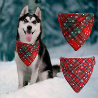 Wholesale christmas bows for dogs resale online - Dog Bandana Christmas Buffalo Plaid Snowflake Pet Scarf Triangle Bibs Kerchief Pet Costume Accessories for Small Medium Large Dogs Cats Pet
