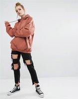 tops de color negro coreano al por mayor-Nueva sudadera con capucha de mujer de estilo coreano de manga larga sudadera de color sólido otoño lindo negro rojo con capucha sudadera tallas grandes tops casuales