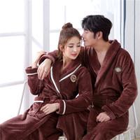 vestidos de cor marrom venda por atacado-Luva cheia Intimate Lingerie Plus Size Brown Casal Pijamas Robe vestido cor sólida Início Vestir Vestido Pijamas Camisola 3XL